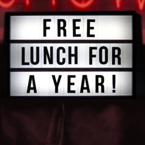 win free lunch for a year